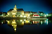 Ratsdleft part of the Emden harbor at night, Emden, East Friesland, Lower Saxony, Germany