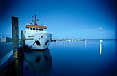 Ship in harbor, island Spiekerook, East Friesland, Lower Saxony, Germany