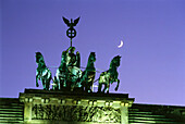 Quadriga on Brandenburg Gate at night, Berlin, Germany