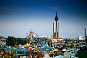 Fair at River Rhine, Rhine Tower, Dusseldorf, North-Rhine Westphalia, Germany