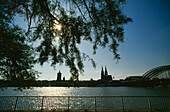 Great St. Martin Church, Cologne Cathedral and Hohenzollern Bridge, Cologne, North-Rhine Westphalia, Germany