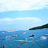 Water polo match in the Adriatic Sea, Dubrovnik, Dalmatia, Croatia