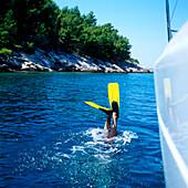 Man diving, Adriatic Sea, Dalmatia, Croatia