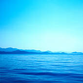 Silhouette of coast, peninsula Peljesac crack of dawn, Dalmatia, Croatia
