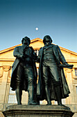 Memorial for Goethe and Schiller infront of National Theater, Weimar, Thuringia, Germany
