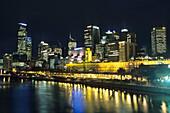 Yarra River and Flinders Street Station at Night, Melbourne, Victoria, Australia