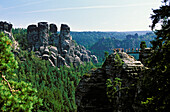 Sandstone formations near Rathen, Bastei Rocks, Bastei, National park Saxon Switzerland, Saxon, Germany