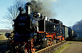 Historical steamtrain, the Rasender Roland, Rugen island, Mecklenburg-Pomerania, Germany, Europe