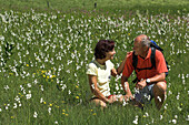 Couple sitting in a meadow full of flowers, Gleinkersee, Upper Austria, Austria