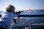Young boy on the Ammersee steamboat, Sailing boats, Ammersee,  Bavaria, Germany