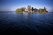 View of the island Frauenchiemsee, Fraueninsel on Lake Chiemsee, Bavaria, Germany