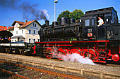 Railway museum, Ebermannstadt station, Franconian Switzerland, Franconia, Bavaria, Germany