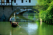 A gondola on the river Pegnitz at Henkersteg, Nuremberg, Franconia, Bavaria, Germany