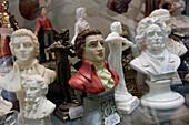 Busts depiscting Wolfgang Amadeus Mozart, Getreidegasse, Salzburg, Austria