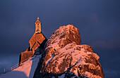 Chapel on Wendelstein with frost in Winter, alpenglow, Wendelstein, Bavarian range, Upper Bavaria, Bavaria, Germany