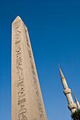 Obelisk of Theodosius and Sultan Ahmet Blue Mosque Minarets, Hippodrome, Sultan Ahmet, Istanbul, Turkey