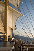 Star Flyer under full sail and tilted waterline, Star Clippers Star Flyer Sailing Ship, Aegean Sea