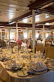 Elegant Captains Dinner Table, Aboard Star Clippers Star Flyer Sailing Ship, Aegean Sea