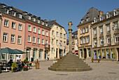 People on the marketplace under blue sky, Place du Marche, Echternach, Luxemburg, Europe