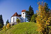 View of a church and landscape, Auerberg, near Bernbeuren, Allgaeu, Upper Bavaria, Bavaria, Germany