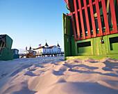 Beach with beach chair, pier in background, Ahlbeck, Usedeom, Mecklenburg-Western Pomerania, Germany