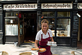 Fried Doughnuts called Schmalznudel served in Cafe Schmalznudel at Viktualienmarkt, Munich, Bavaria, Germany, Food