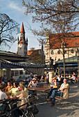 Viktualienmarkt, Munich, Bavaria, Germany, Travel, People, Beergarden, Beer