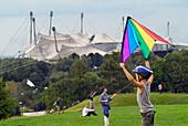 Flying Kites, Olympic Park, Schwabing, Munich, Bavaria, Germany