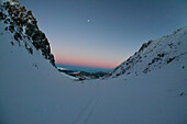 Snowy valley, Sunset, Falkertsee, Carinthia, Austria