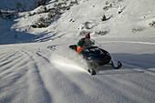 Man, Skidoo, Powder, Falkertsee, Carinthia, Austria