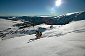 Man, Skiing, Powderturn, Downhill, Valley, Falkertsee, Carinthia, Austria