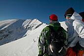 Men, Snowy Mountain, Falkertsee, Carinthia, Austria