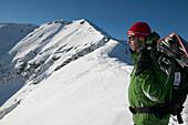 Snowboarder, Snowy Mountains, Falkertsee, Carinthia, Austria