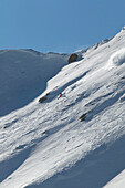 Man, Skiing, Powderturn, Downhill, Falkertsee, Carinthia, Austria