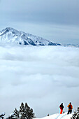 Men, Snowy Mountain, Fog, Ross hut, Tyrol, Austria