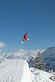 Skier jumping, Warth, Arlberg, Tyrol, Austria