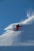 Man, Skiing, Powderturn, Downhill, Warth, Arlberg, Tyrol, Austria