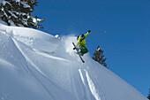 Skier jumping, Arlberg, Tyrol, Austria