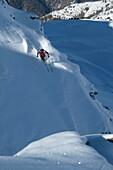 Man, Skiing, Powderturn, Downhill, Valley, St Luc, Chandolin, Valais, Switzerland