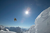 Skier jumping, Snowy Mountains, Zugspitze, Bavaria, Germany