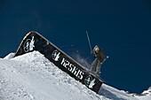 Man, Skier, Rail , Zugspitze, Bavaria, Germany