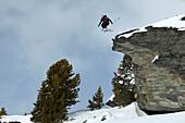 Skier jumping, St Luc, Chandolin, Valais, Switzerland