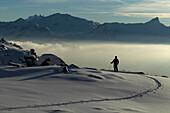 Winter Sonnenuntergang, Skifahrer, St Luc, Chandolin, Wallis, Schweiz