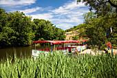 Ropotamo river and excursion boat at Ropotamo Reserve, Bulgaria, Europe
