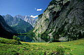 alpine pasture of Fischunkelalm with lake Obersee and Watzmann, Berchtesgaden range, Upper Bavaria, Bavaria, Germany