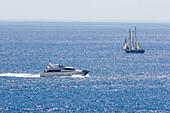 Sailing ship and yacht on the sea, Majorca, Balearic Islands, Spain, Europe