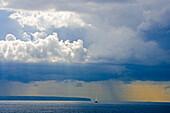 Sailing ship on the sea under rain clouds, Majorca, Balearic Islands, Spain, Europe