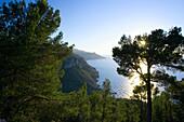 Sea view and coastal landscape near Mirador de ses Pites, North Coast, Majorca, Spain