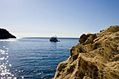 Yacht in a bay, Portals Vells, Mediterranean sea, Majorca, Spain