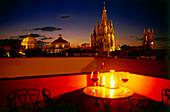 A romantic candlelight dinner, Hotel Casa de Sierra Nevada, San Miguel de Allende, Mexico
